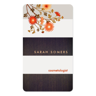 Modern Wood Stripes Orange Flowers Cosmetology Double-Sided Standard Business Cards (Pack Of 100)