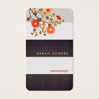 Modern Wood Stripes Orange Flowers Nature Business Card
