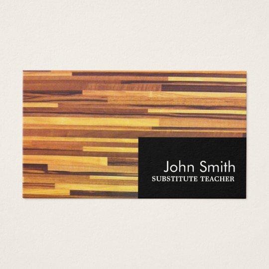 Modern Wood Substitute Teacher Business Card
