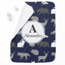Modern Woodland Animal Silhouettes Baby's Name Receiving Blanket