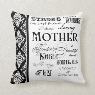 Modern Word Cloud Mother Text Sayings - Black Throw Pillow