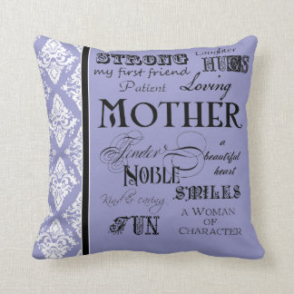 Modern Word Cloud Mother Text Sayings - Purple Pillows