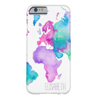 Modern world map globe bright watercolor monogram barely there iPhone 6 case