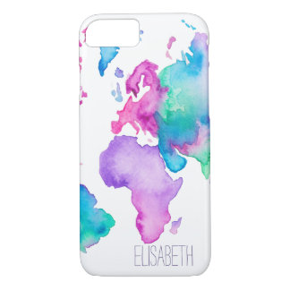 Modern world map globe bright watercolor monogram iPhone 7 case