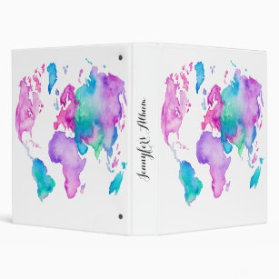 Personalize your own world map binder stay organized today zazzle modern world map globe bright watercolor paint 3 ring binder gumiabroncs Gallery