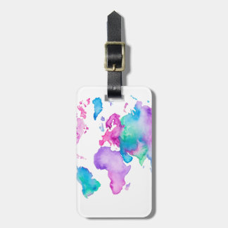 Modern world map globe bright watercolor paint bag tag