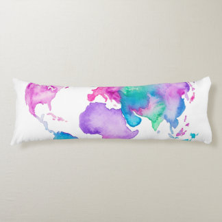 Modern world map globe bright watercolor paint body pillow