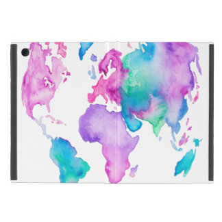 Modern world map globe bright watercolor paint cover for iPad mini