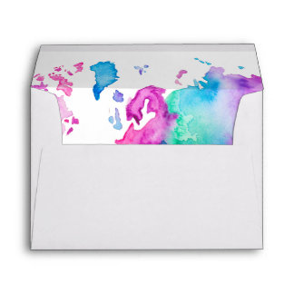Modern world map globe bright watercolor paint envelope
