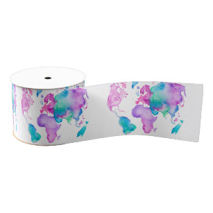 Modern world map globe bright watercolor paint grosgrain ribbon
