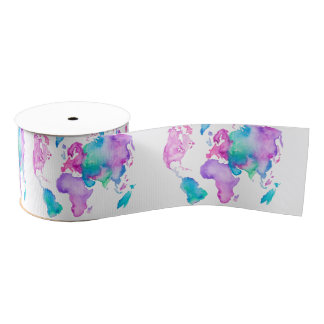 Modern world map globe bright watercolor paint grosgrain ribbon