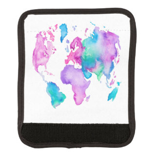 Modern world map globe bright watercolor paint luggage handle wrap