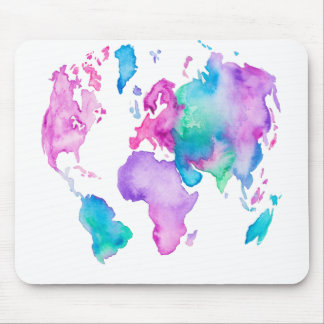 Modern world map globe bright watercolor paint mouse pad