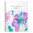 Modern world map globe bright watercolor paint notebook