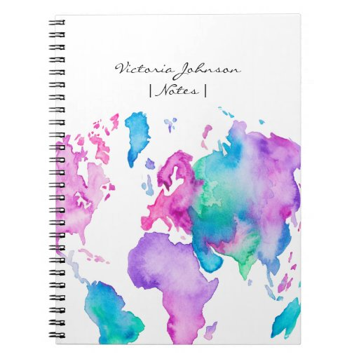 Modern world map globe bright watercolor paint notebook