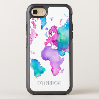 Modern world map globe bright watercolor paint OtterBox symmetry iPhone 7 case