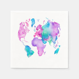 Modern world map globe bright watercolor paint paper napkin