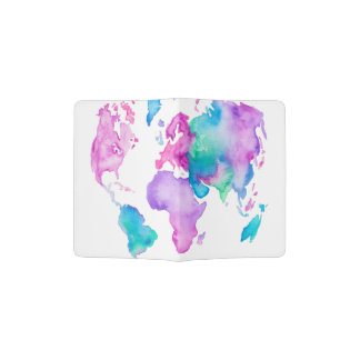 Modern world map globe bright watercolor paint passport holder