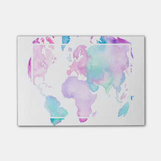Modern world map globe bright watercolor paint post-it notes