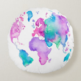 Modern world map globe bright watercolor paint round pillow
