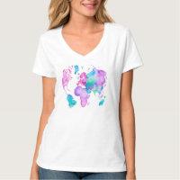 Map globe t shirts shirt designs zazzle modern world map globe bright watercolor paint gumiabroncs Images
