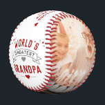 """Modern World's Greatest Grandpa 2-Photo Baseball<br><div class=""""desc"""">Let your grandpa know he's the greatest with a one-of-a-kind gift. This baseball is personalized with your own photos and your own custom message. The word, """"GRANDPA, """" can be changed to """"GRAMPS"""" or anything else you want. If you need any help customizing this, please message me using the button...</div>"""