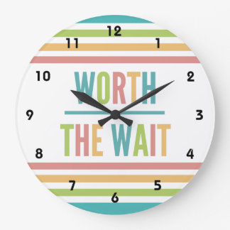 Modern Worth the Wait - Adoption, New Baby Large Clock