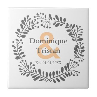 Modern Wreath His and Her Wedding Ceramic Tile
