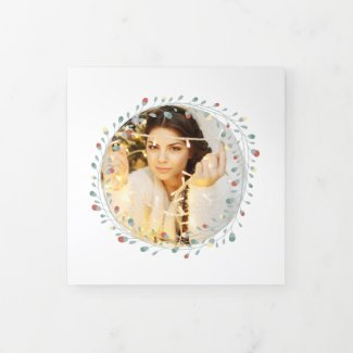 Modern Wreath Photo Personalized Christmas Tri-Fold Holiday Card