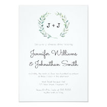 Modern wreath rehearsal dinner invitations