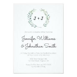 Modern wreath rehearsal dinner invitations