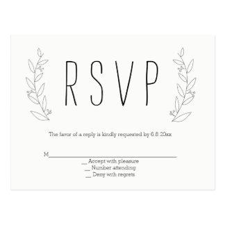 Modern wreath rustic wedding rsvp postcards