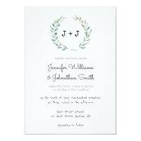 Modern wreath wedding invitations