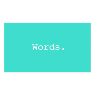 Modern writer publisher editor turquoise blue Double-Sided standard business cards (Pack of 100)