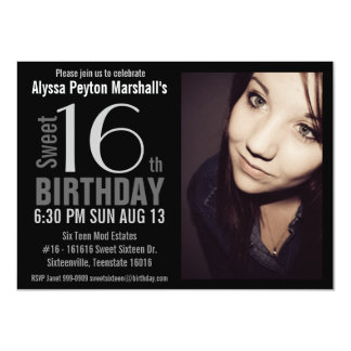 Modern XL Photo Sweet 16th Birthday Party 4.5x6.25 Paper Invitation Card