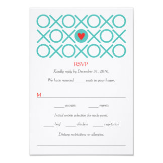 Modern X's O's Heart Aqua Red Wedding RSVP Cards