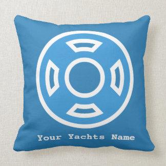 Modern Yachts Pool Life Buoy Ring Light Blue Pillow