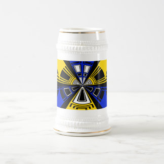 Modern yellow and blue circle pattern 18 oz beer stein