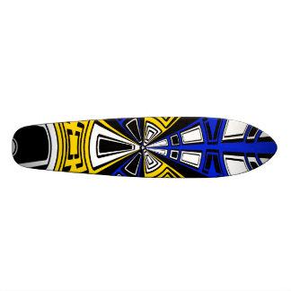 Modern yellow and blue circle pattern skate deck