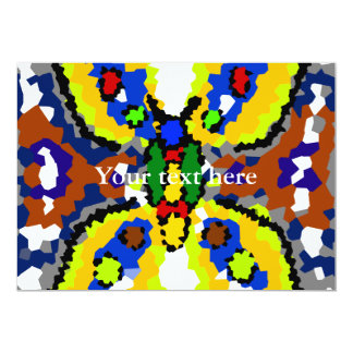 Modern yellow and blue crystallized butterfly 5x7 paper invitation card