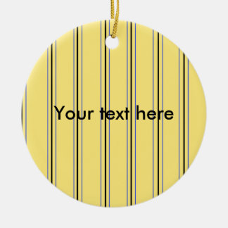 Modern yellow and blue pinstripes Double-Sided ceramic round christmas ornament