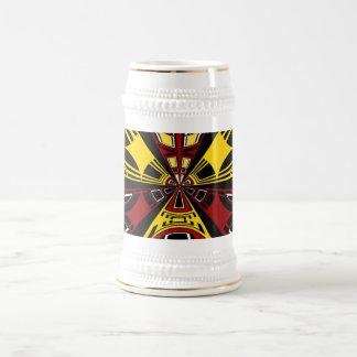 Modern yellow and burgundy circle design 18 oz beer stein