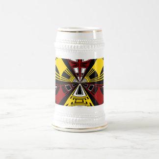 Modern yellow and burgundy circle pattern 18 oz beer stein