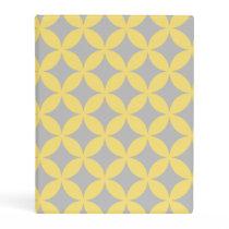 Modern Yellow and Gray Circle Pattern Mini Binder