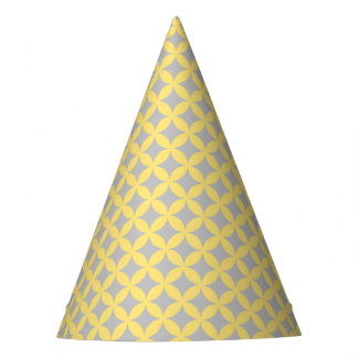 Modern Yellow and Gray Circle Pattern Party Hat