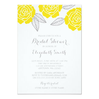 Modern Yellow and Gray Rose Bridal Shower Card