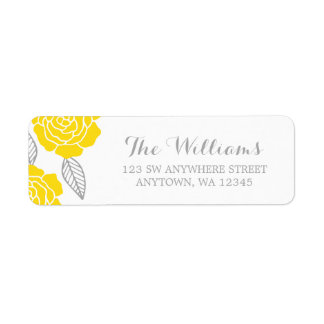Modern Yellow and Gray Rose Label
