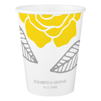 Modern Yellow and Gray Rose Wedding Paper Cup