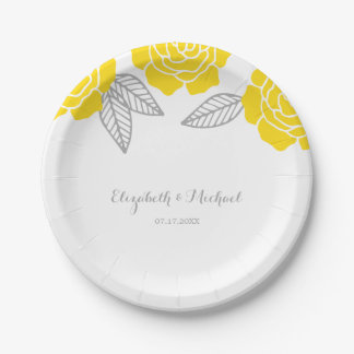 Modern Yellow and Gray Rose Wedding Paper Plate