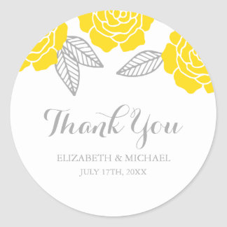 Modern Yellow and Gray Rose Wedding Thank You Classic Round Sticker